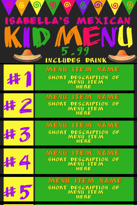 Mexican Restaurant Kids Menu