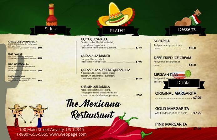 Mexicana Menu