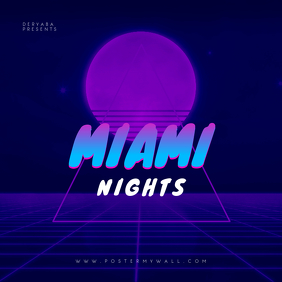 Miami Nights Retro CD Cover Template