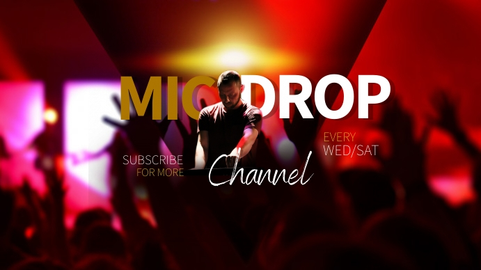MICDROP CHANNEL DJ Youtube Art Coverfoto til YouTube-kanal template