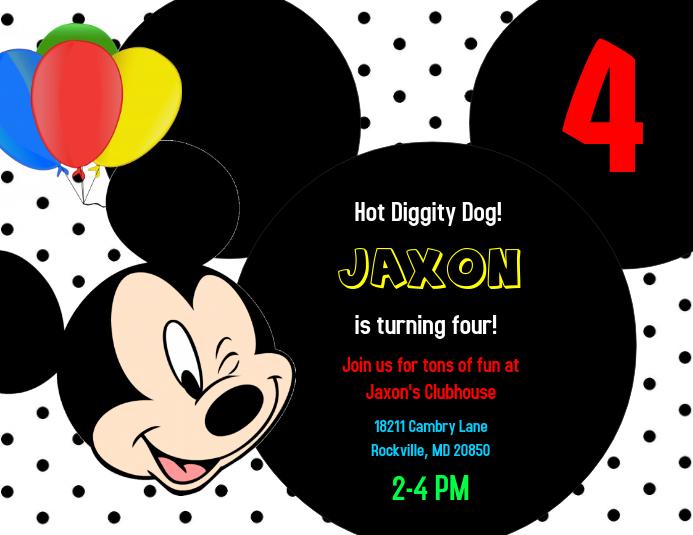 Mickey Mouse Birthday Invitation · Customize Template