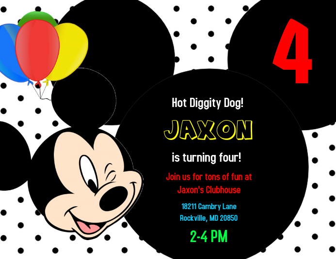 Lovely Mickey Mouse Birthday Invitation · Customize Template