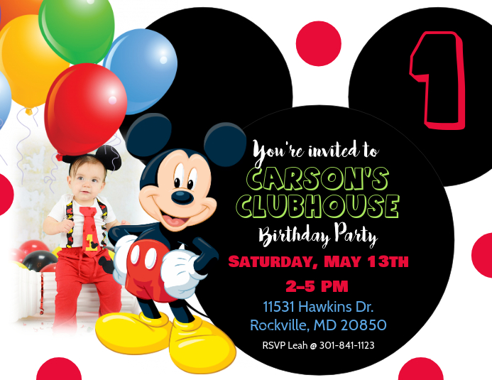 Mickey Mouse Birthday Invitation. Customize Template