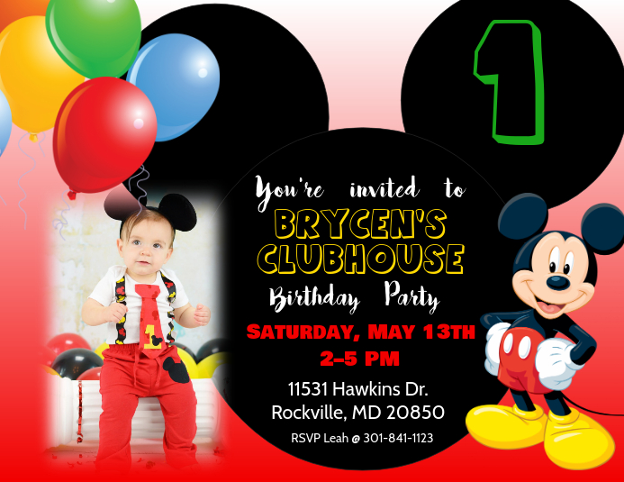 Mickey Mouse Birthday Invitation