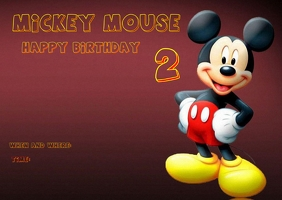 Mickey Mouse Birthday Post Card Postal template