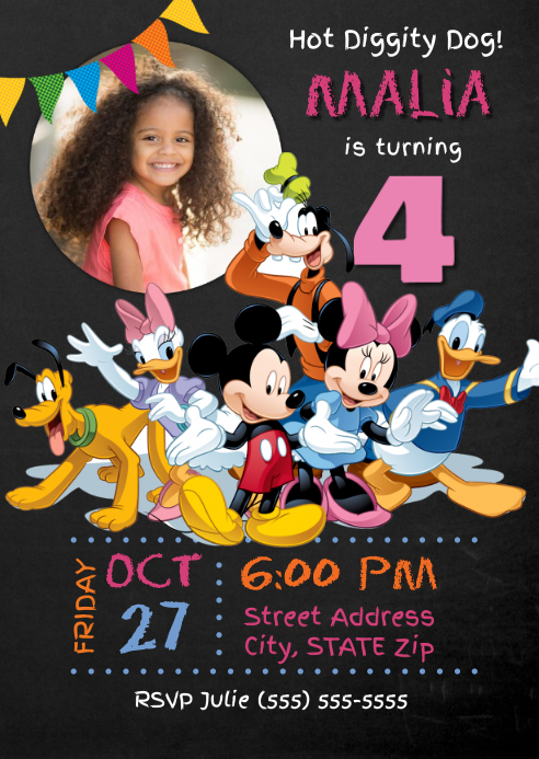 Mickey Mouse Clubhouse Birthday Invitation Template