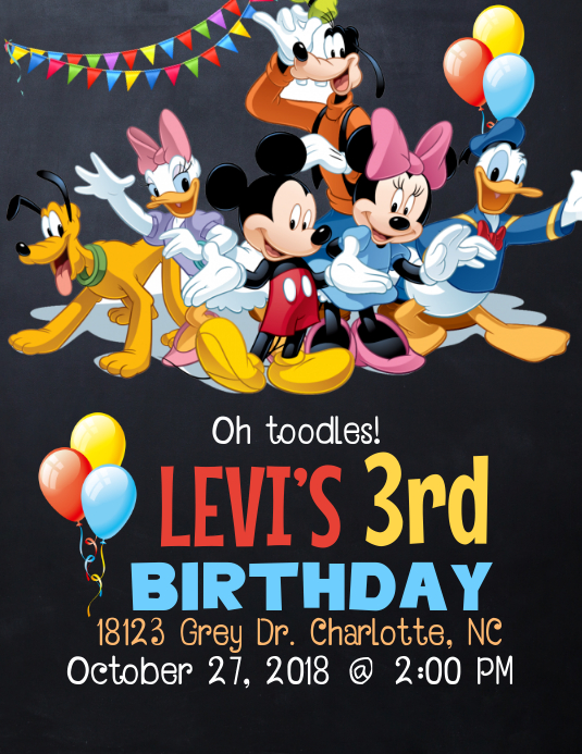 graphic relating to Mickey Mouse Printable Birthday Invitations called Mickey Mouse Clubhouse Birthday Invitation Template