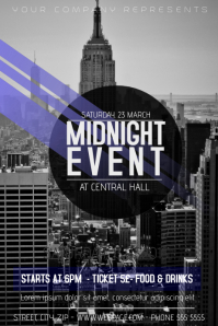 midnight city event flyer template