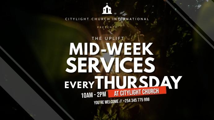 midweek service flyer Digitale display (16:9) template