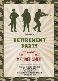 Military army Retirement Party Invitation A6 template