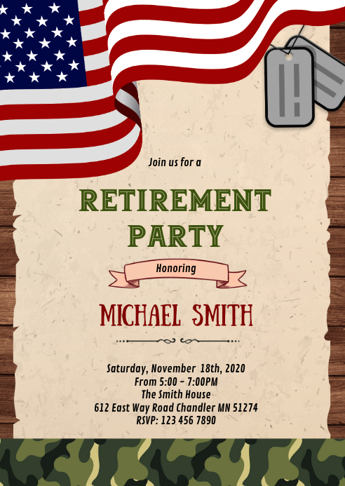 Military Retirement Party Invitation A6 template