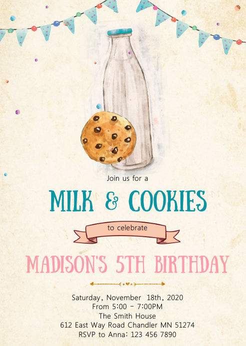 Milk and cookies birthday party invitation A6 template
