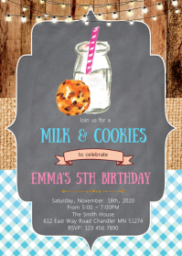 Milk cookies birthday party invitation