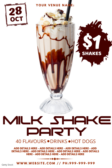 Milk Shake Party Poster template