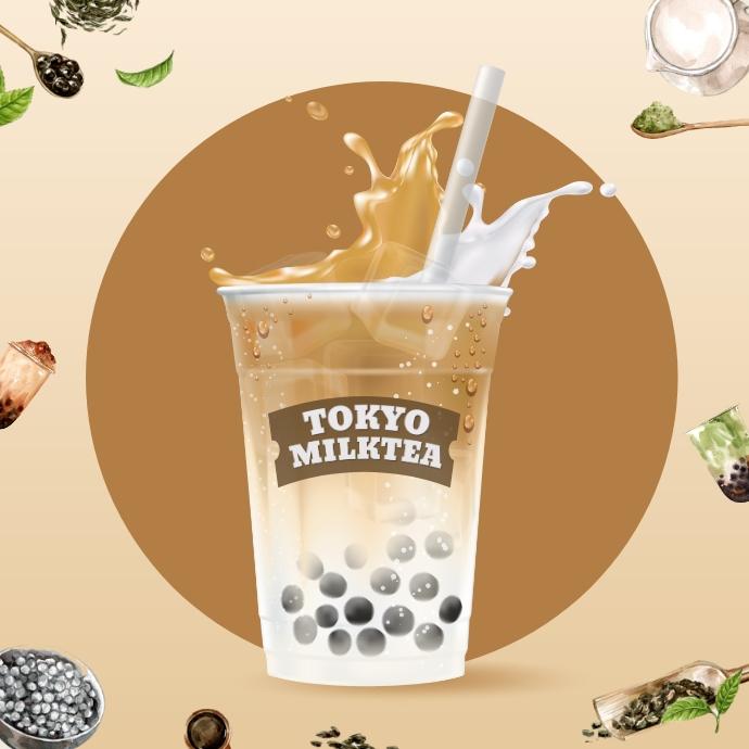 Milk Tea Mockups Logo template