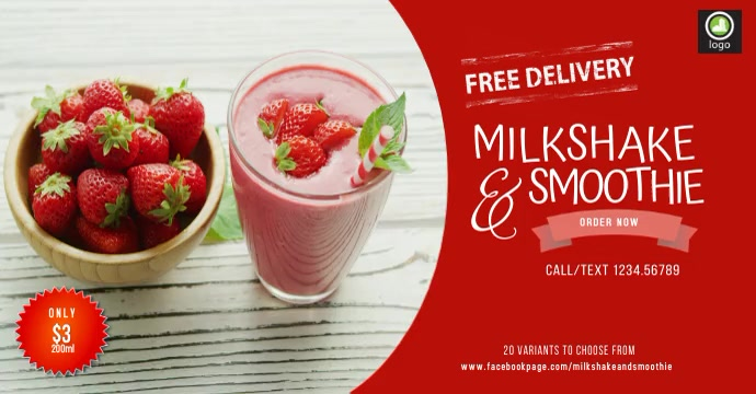 Milkshake & Smoothie Reklama na Facebooka template