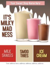 Milkshake Ice Cream Bar Flyer Template