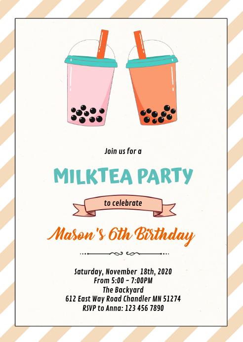 Milktea boba party birthday invitation A6 template