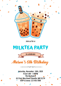 Milktea boba party birthday invitation