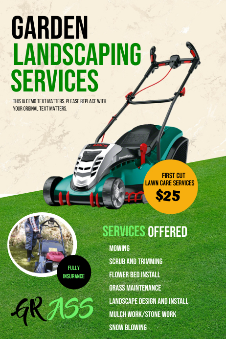 Millers Mowing And Landscaping Template Postermywall