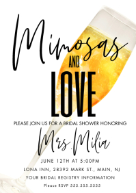 Mimosa Theme Bridal Shower A4 template