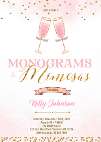 Mimosas and monogram bridal shower invitation A6 template