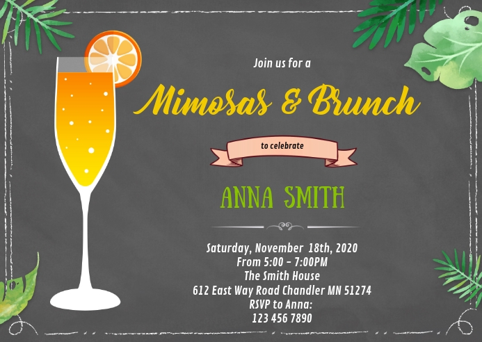 Mimosas brunch shower party invitation