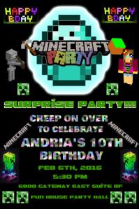 MINE CRAFT BIRTHDAY PARTY INVITATION Плакат template