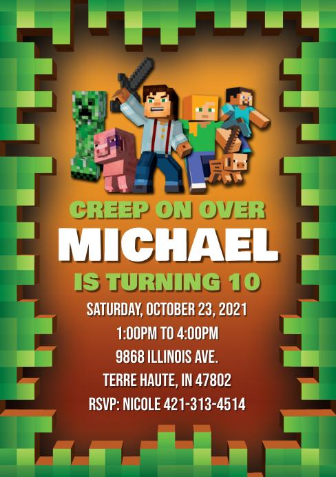 Minecraft Birthday Invitation A5 template