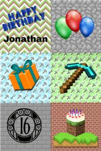 Minecraft birthday/minecraft/birthday/party Плакат template
