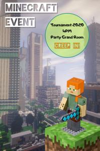 minecraft event/party/tournament/gamers โปสเตอร์ template