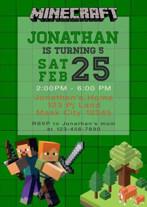 Minecraft Party Video Animated Invitation 1