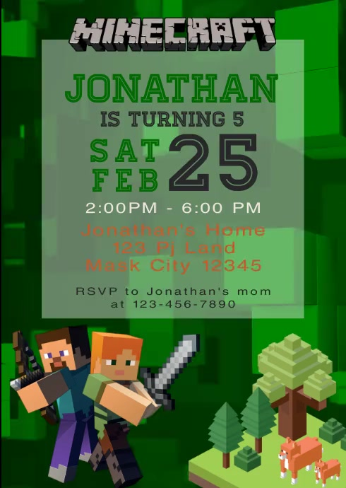 Minecraft Party Video Animated Invitation 2