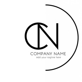 Minimal alphanumeric black and white logo template
