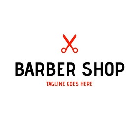 minimal black and red barber shop