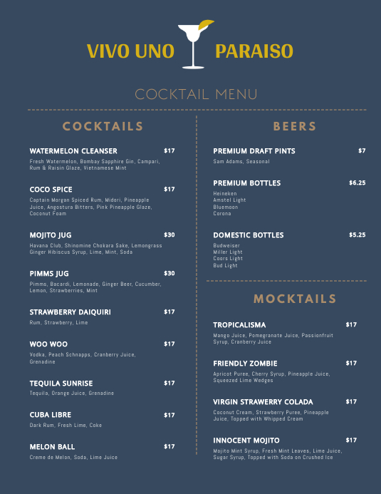 Minimal Cocktail Menu Template