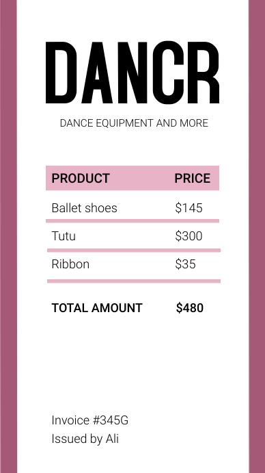 Minimal digital invoice Instagram Story template