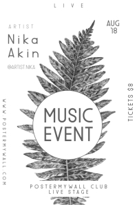Minimal Leaf Black and White Event Poster