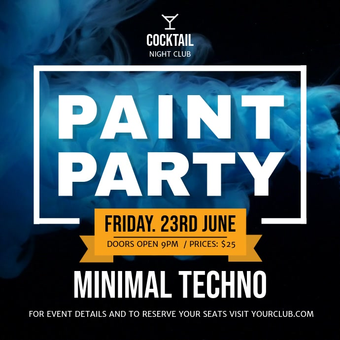 Minimal Techno Paint Party Square Video Kvadrat (1:1) template