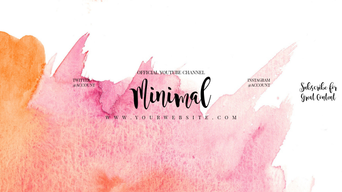 Youtube Channel Art Template | Minimal Watercolor Youtube Channel Art Banner Template Postermywall