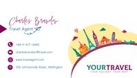 Minimal white travel agent business card Wizytówka template