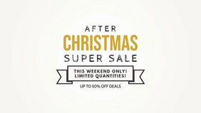 Minimalist Christmas Super Sale Facebook Banner Video