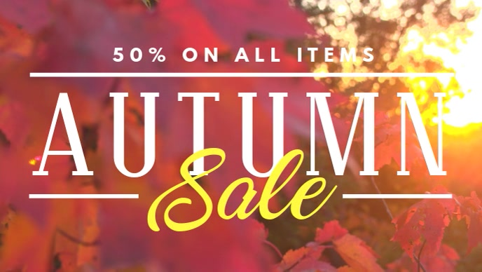 Minimalist Fall Sale Ad for Facebook Video Template