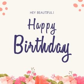 Minimalist Happy birthday wish Instagram Post template