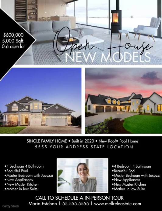 Minimalist Open House New Model Home Flyer Vi template