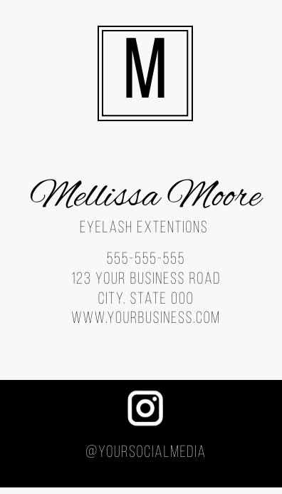 minimalist social media business card Visitkort template