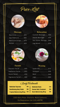 Minimalist Spa Price list Digital Display Template