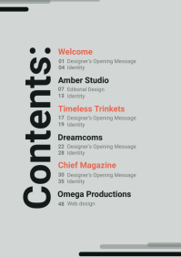 Minimalist Table of Contents A4 template