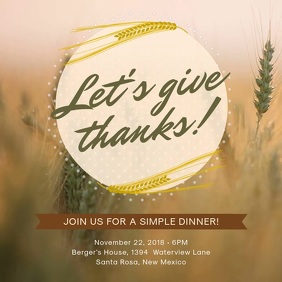 Minimalist Thanksgiving Invitation Video Ad
