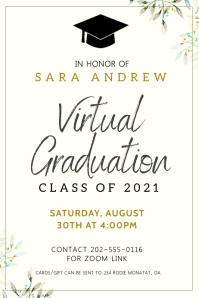 Minimalist virtual graduation invitation bann Banner 4' × 6' template